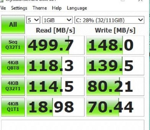 BEFORE: ADATA XM11 SSD read and write speeds