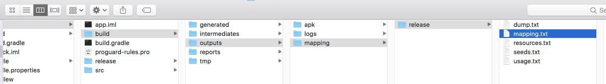 Location of (Deobfuscation files) mapping.txt file in a Mac