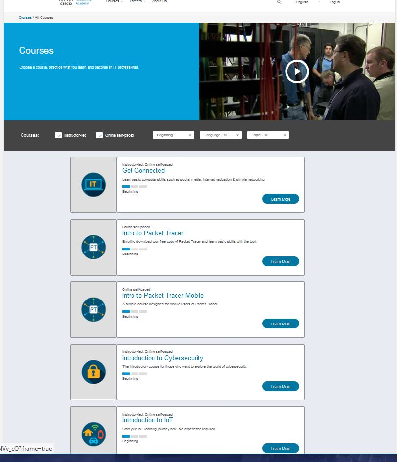 Choose a course, practice what you learn, and become an IT professional, from Cisco Academia