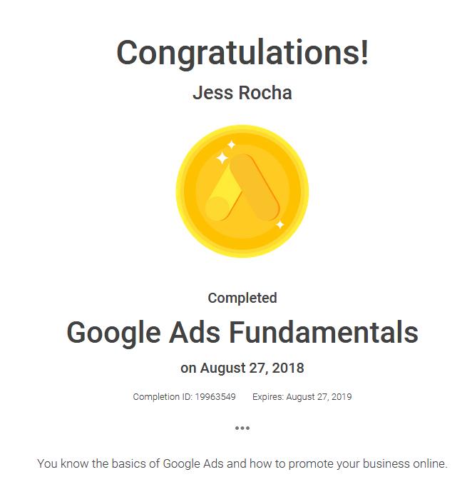 I got the Google Analytics Individual Qualification (GAIQ) certification