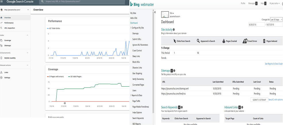 Google Search Console vs Bing Webmasters tools