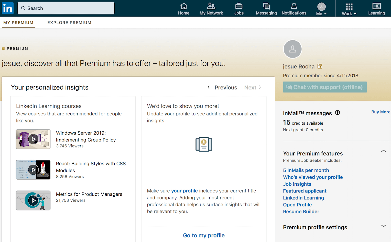 LinkedIn premium: best features is LinkedIn Learning