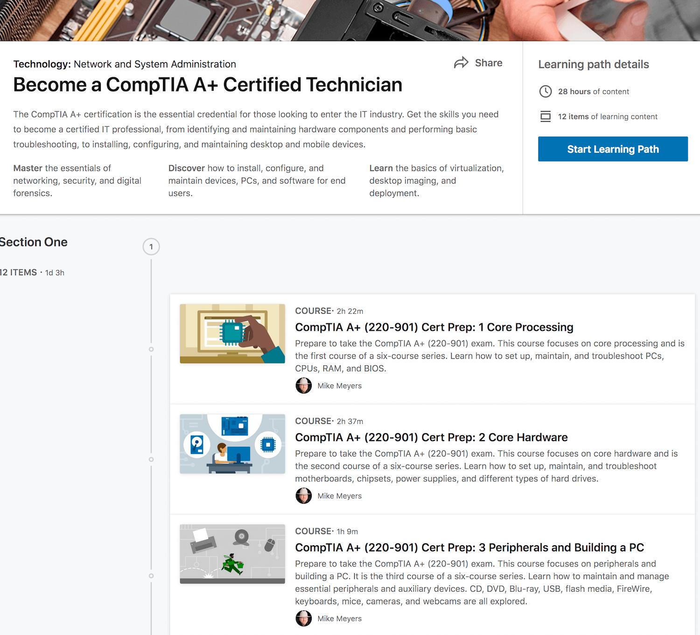 LinkedIn Learning: CompTIA A+ 901-902 1001-1002