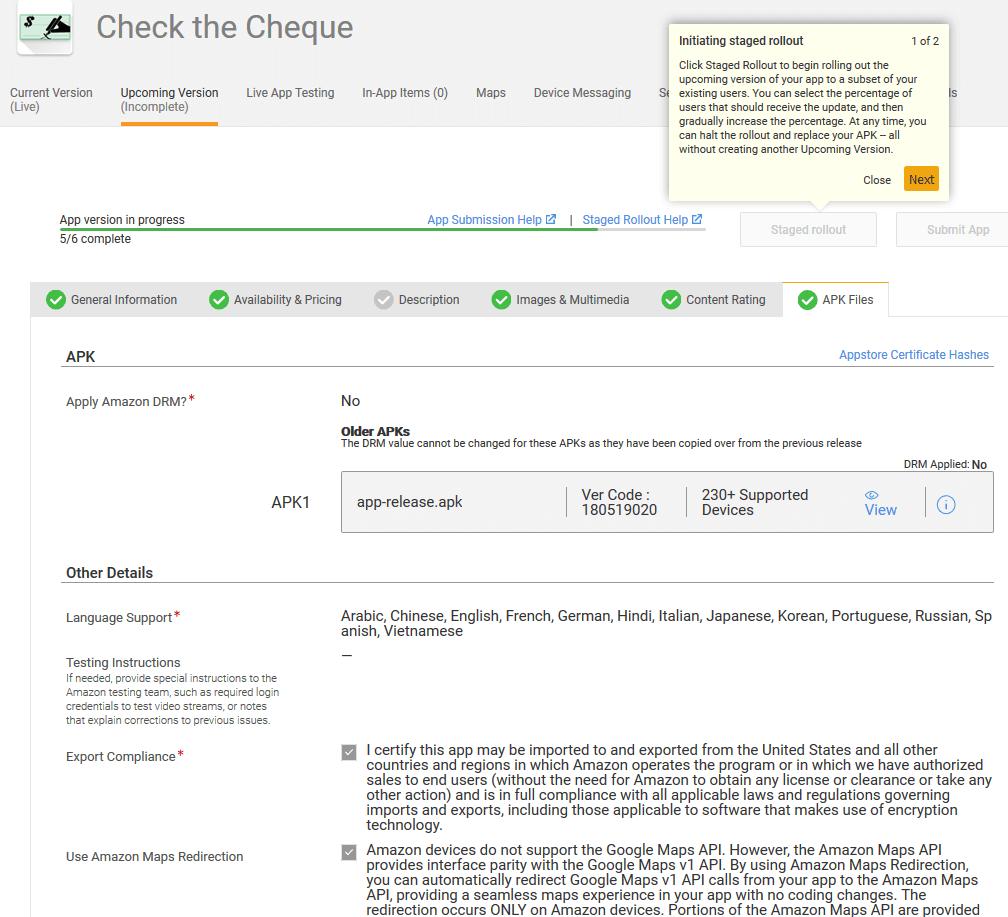 Amazon Developer:  APK Files upload