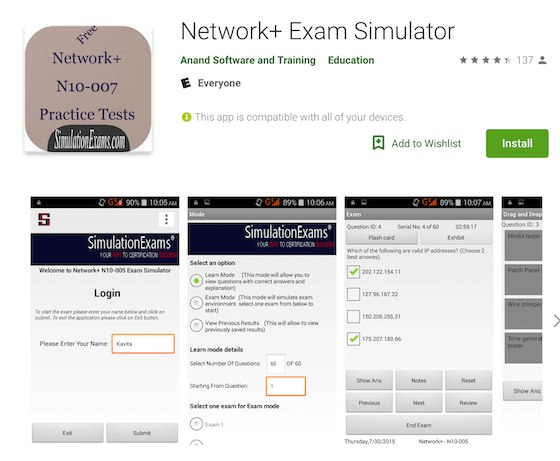 Network+ Exam Simulator Anand Software and Training