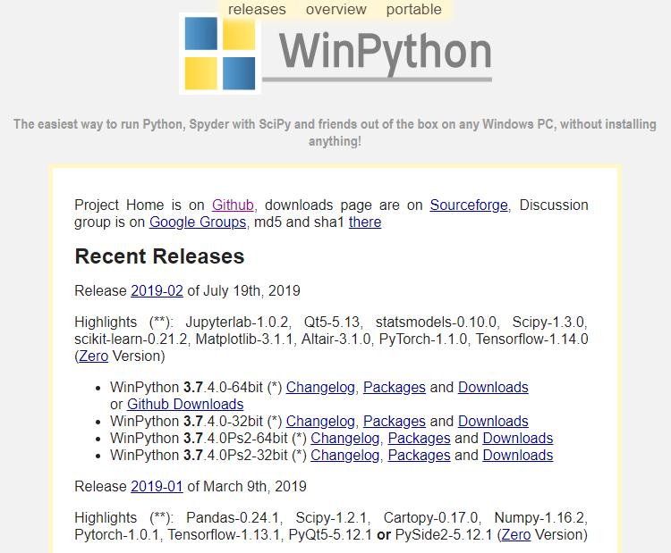 WinPython's free open-source portable distribution of the Python programming language for Windows 7/8/10