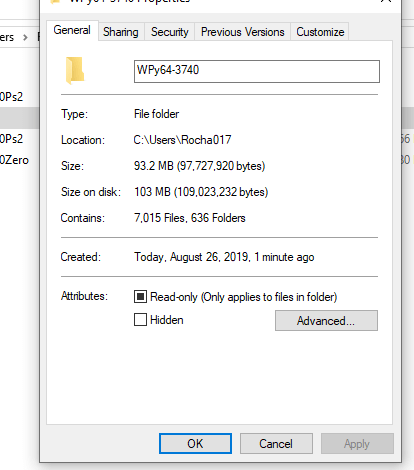WinPython32-3.7.4.1Zero.exe file size is 30MB, but installation size is about 100MB
