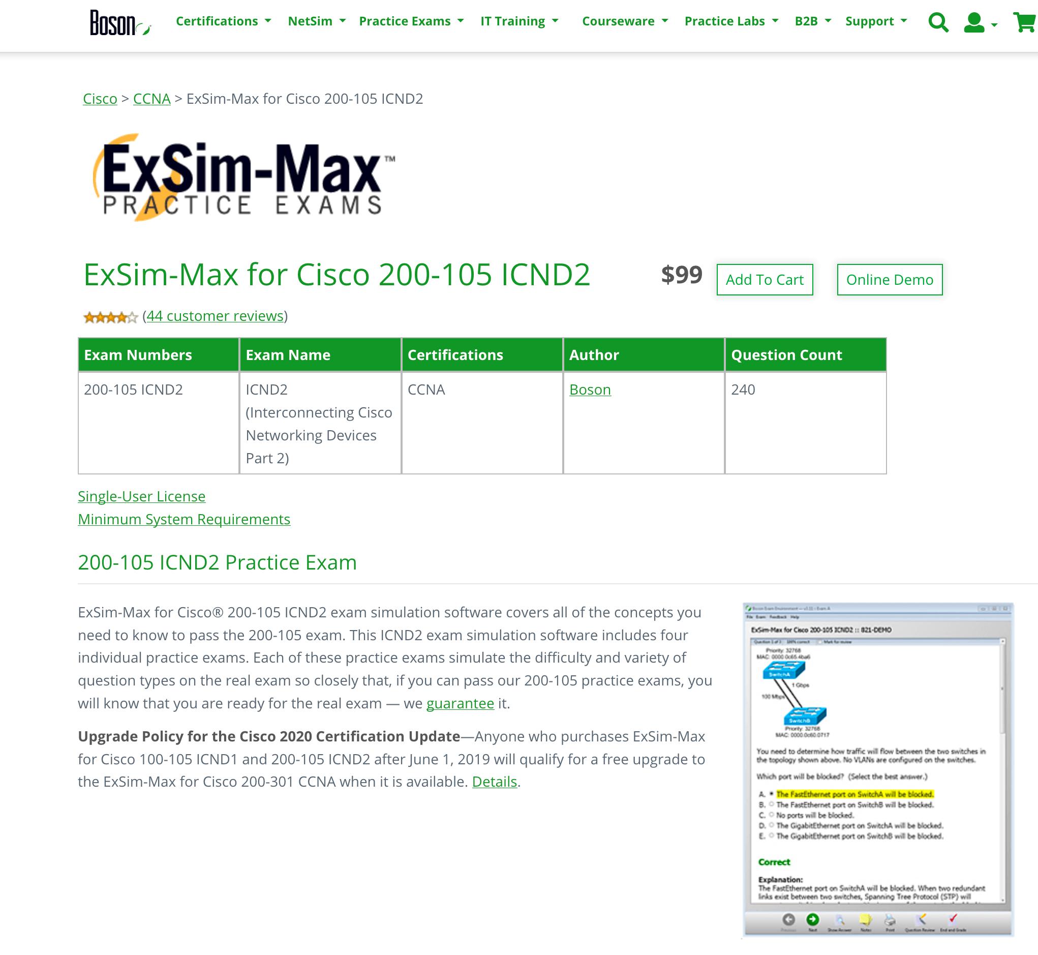 ExSim-Max for Cisco 200-105 ICND2  best value