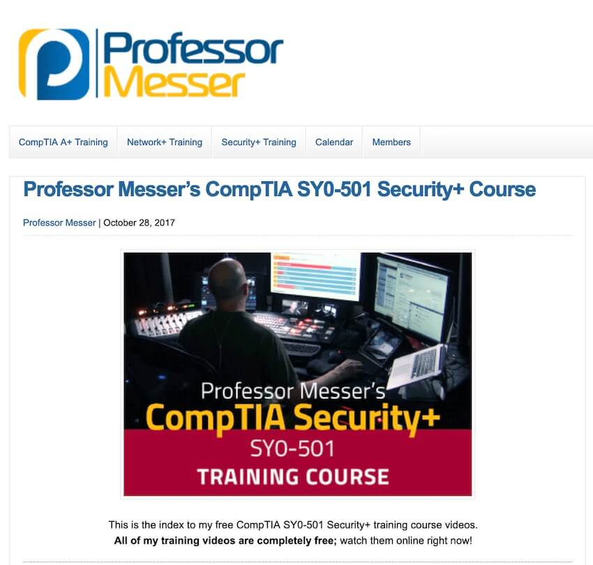Professor Messer's CompTIA SY0-501 Security+ Course