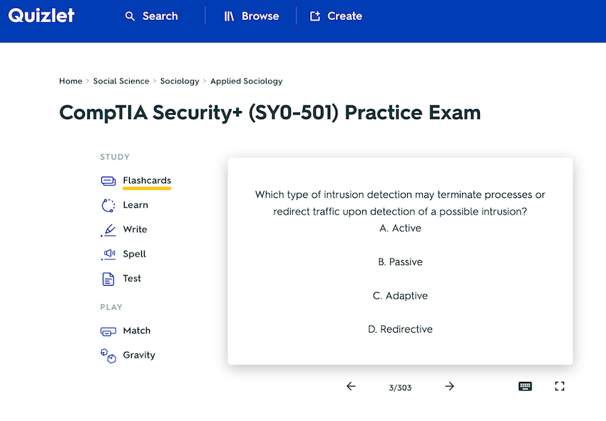Quizlet security+ 501 flashcards
