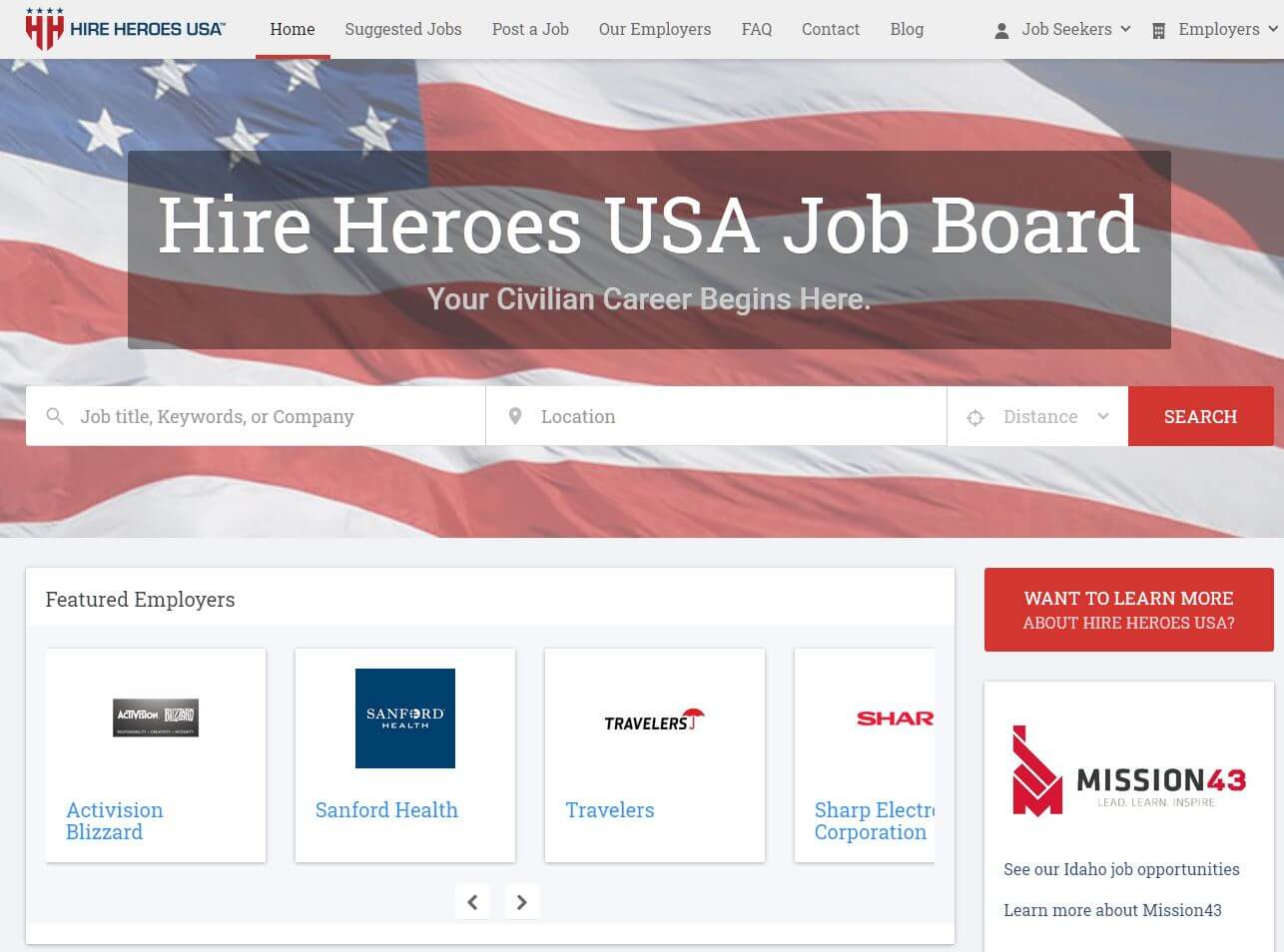Hire Heroes USA job board has multiple job search engines