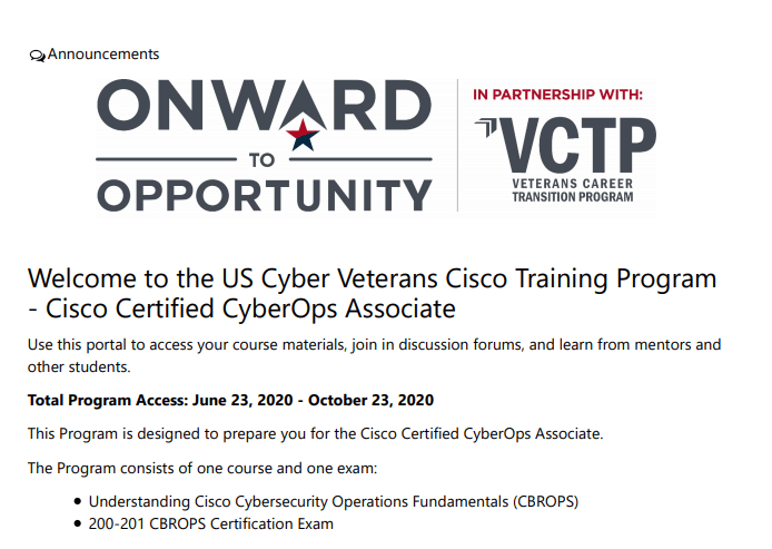 FREE Cyber Security Training & Certification for Veterans