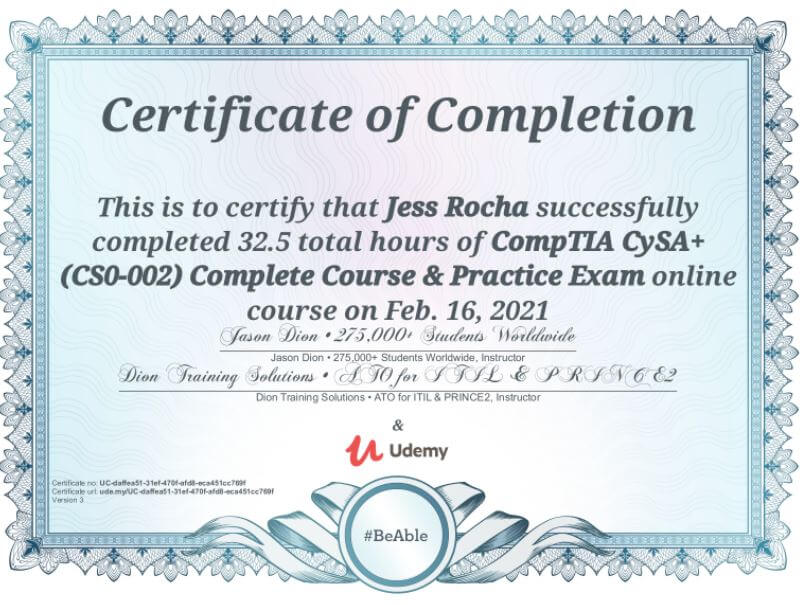 Udemy and Dion Training Solution's CompTIA CySA+ (CS0-002) Complete Course & Practice Exam