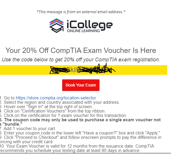 iCollege.co 20% off Comptia exam code