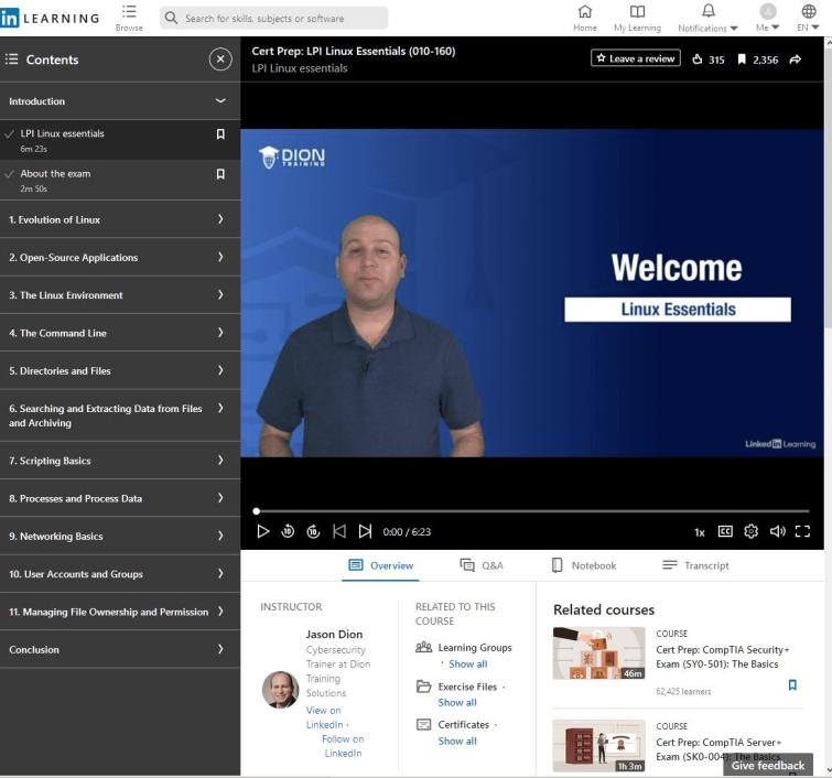 linkedin learning and Jason Dion. Best Linux Essentials course