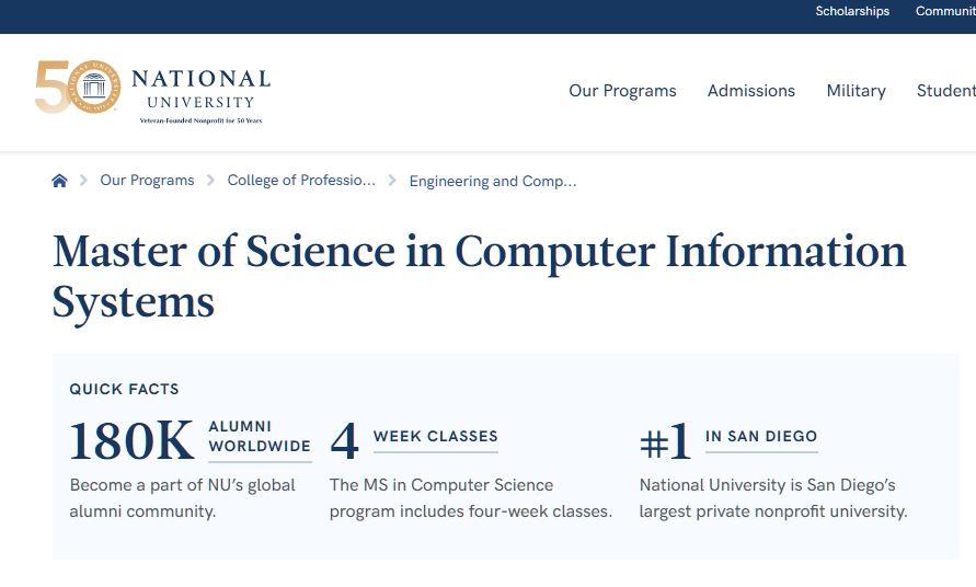 National University – La Jolla : Computer Information Systems