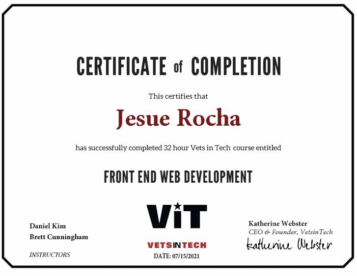 VetsInTech 32 hours Front End Web Development certificate